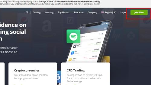 eToro Homepage Screenshot